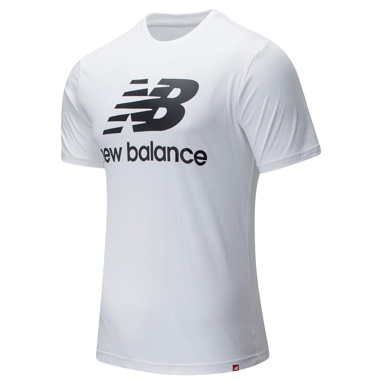New Balance Essentials Herren Stacked Logo Tee weiß MT01575 WK