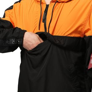 Alpha Industries Herren Tape Anorak Jacke schwarz orange – Bild 2