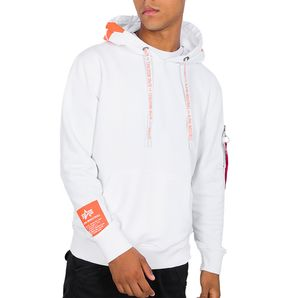 Alpha Industries Herren Hoody weiß orange – Bild 1
