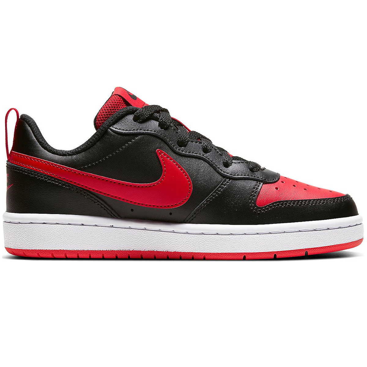 Nike Court Borough Low 2 GS Kinder Sneaker schwarz rot BQ5448 007