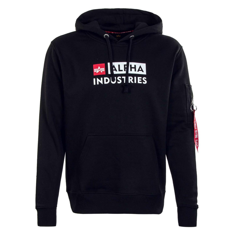 Alpha Industries Block Logo Hoody Herren schwarz 118338/03