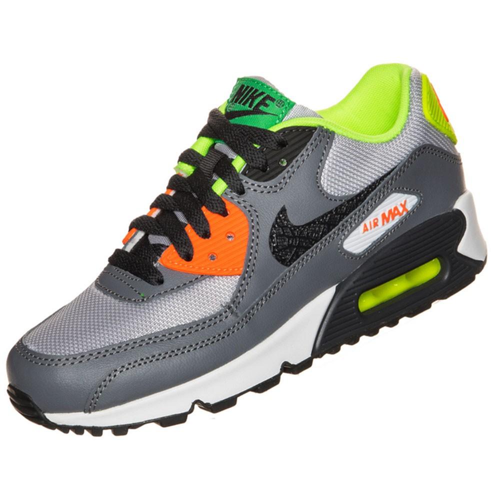 new concept d3e9e fd7c1 Nike Air Max 90 (GS) Sneaker grau orange neon gelb