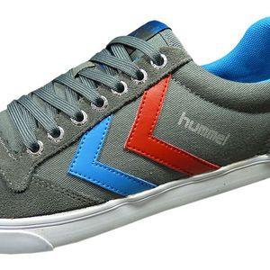 Hummel Slimmer Stadil Low Herren Sneaker grau blau rot – Bild 3
