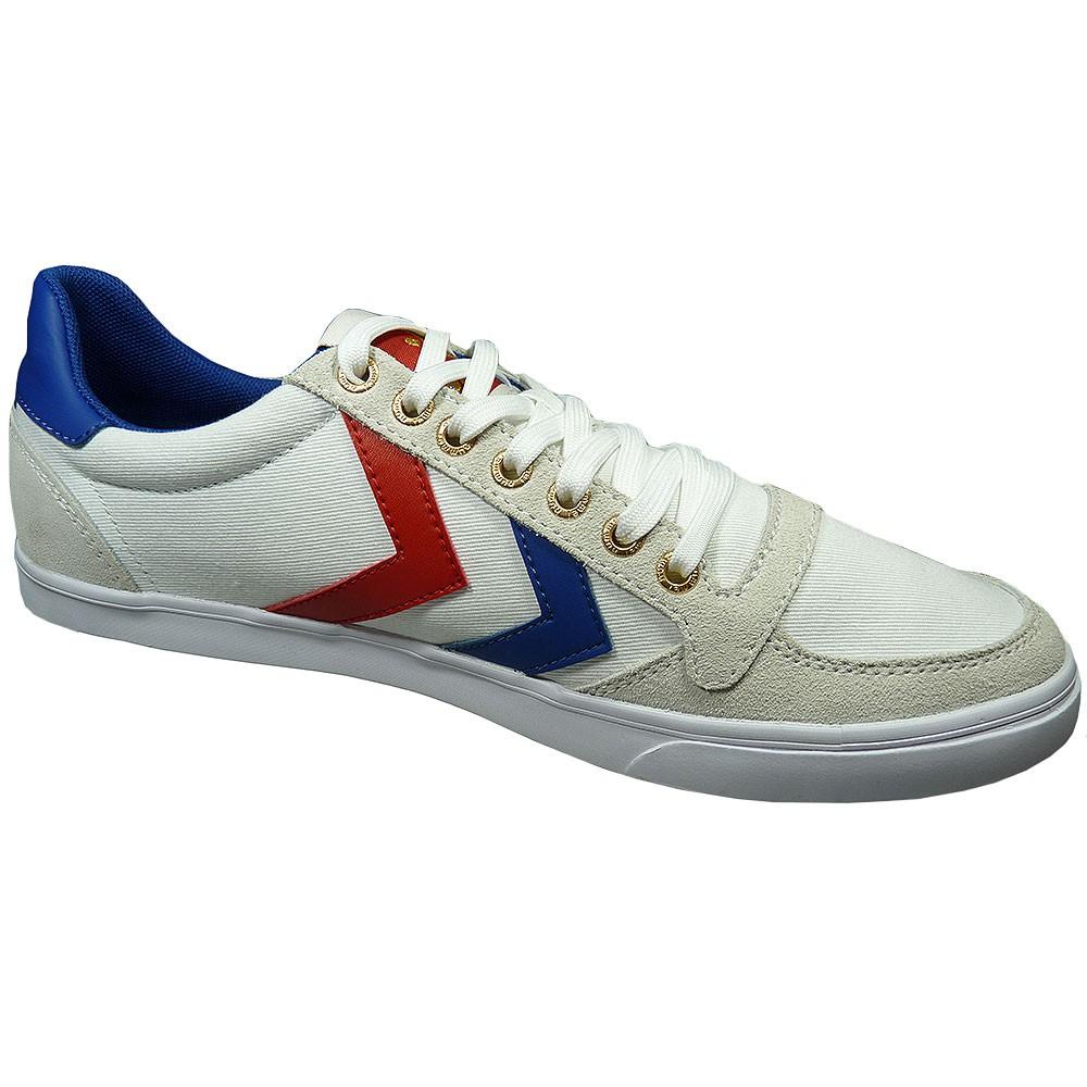 36e4dab4acb5e5 Hummel Slimmer Stadil Low Herren Sneaker weiß blau rot – Bild 2