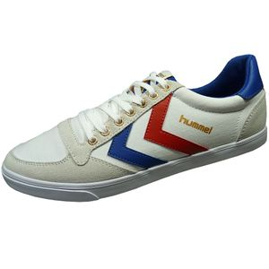 Hummel Slimmer Stadil Low Herren Sneaker weiß blau rot  – Bild 1