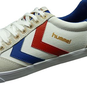 Hummel Slimmer Stadil Low Herren Sneaker weiß blau rot  – Bild 3