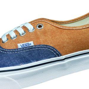 Vans Authentic Herren Casual Sneaker Denim blau orange – Bild 3