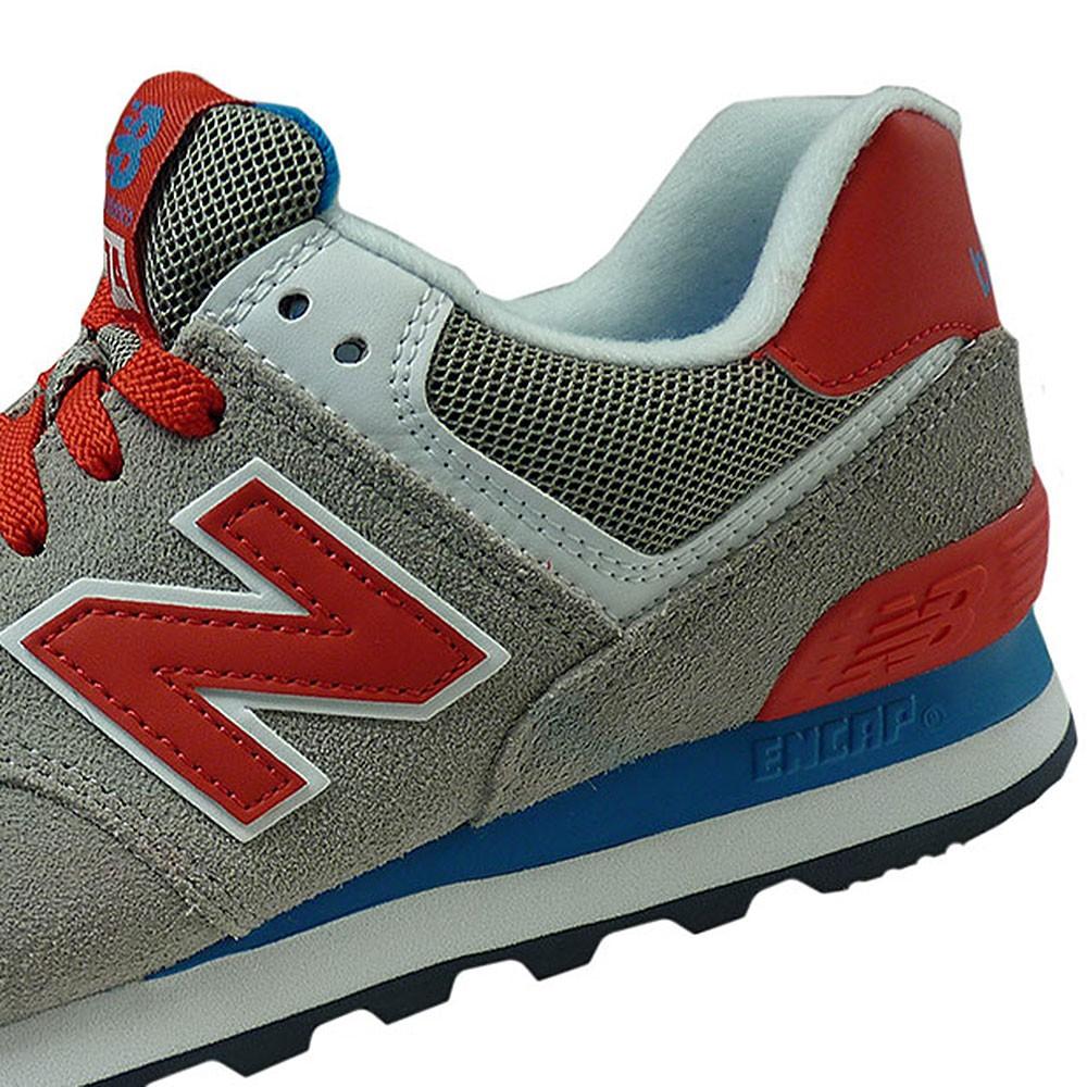 buy online 715b2 94654 New Balance WL574MON Damen Sneaker grau rot