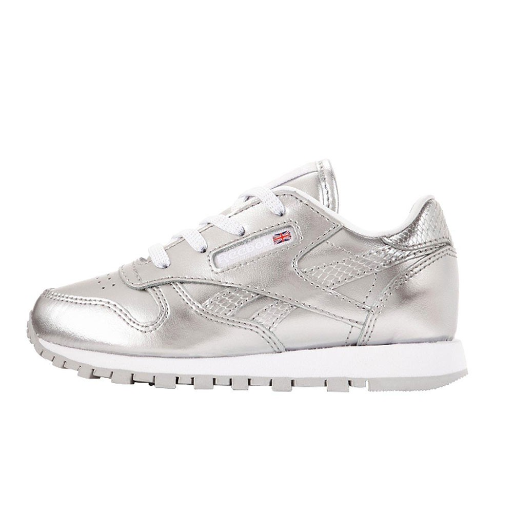 cdeb635a073857 Reebok Classic Leather Metallic Kleinkinder Sneaker silber