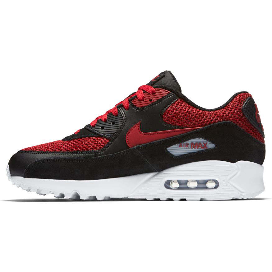 nike air max 90 essential herren sneaker schwarz rot wei. Black Bedroom Furniture Sets. Home Design Ideas