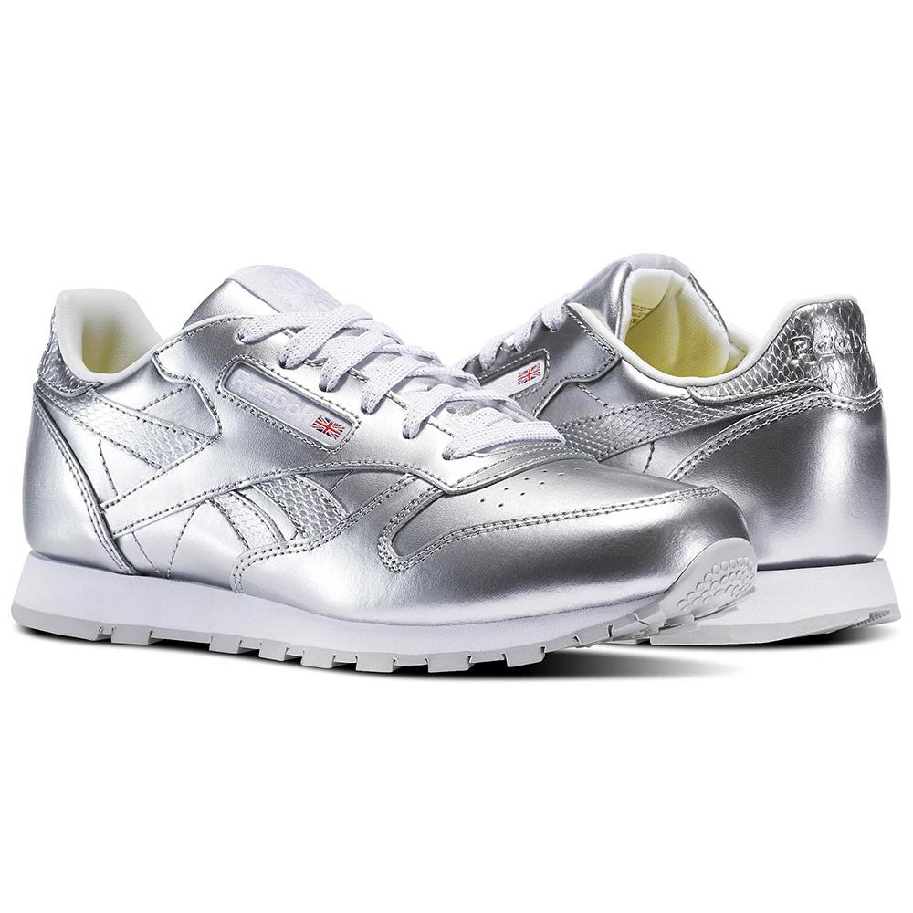 9c85a8dd949 Reebok Classic Leather Metallic Junior Kinder Sneaker silber – Bild 4