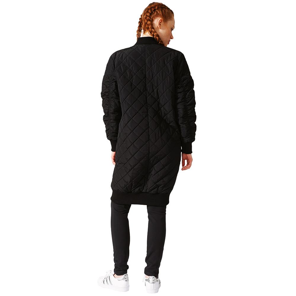 best sneakers 33a00 5204f adidas Originals Long Bomber Damen Steppmantel schwarz