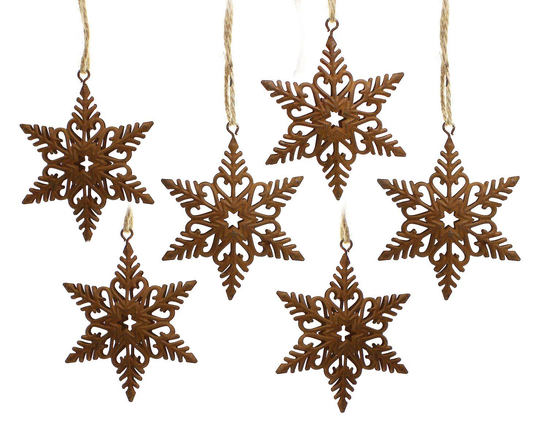 6x deko anh nger schneeflocke 7x7x9 cm metall rost braun for Deko rost weihnachten