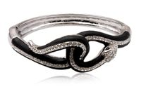 Schmuck Armreif Schlange Snake Ø 70mm, Metall mit Glaskristallen Kristall silber, Armband Armschmuck mit Strass Steine 001