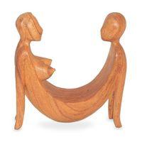 Deko Figur Abstrakt Model 4 sitzend aus Soar Holz braun, Höhe 20 cm, Holzfigur Skulptur Paar Frau Mann Kunsthandwerk aus Bali handgefertigt 001