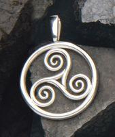 Schmuck Anhänger Triskell Spirale Dreierspirale 28 mm, 925 Sterling Silber, Kelten Celtic Symbol Dreiheit Zeichen Damen Herren