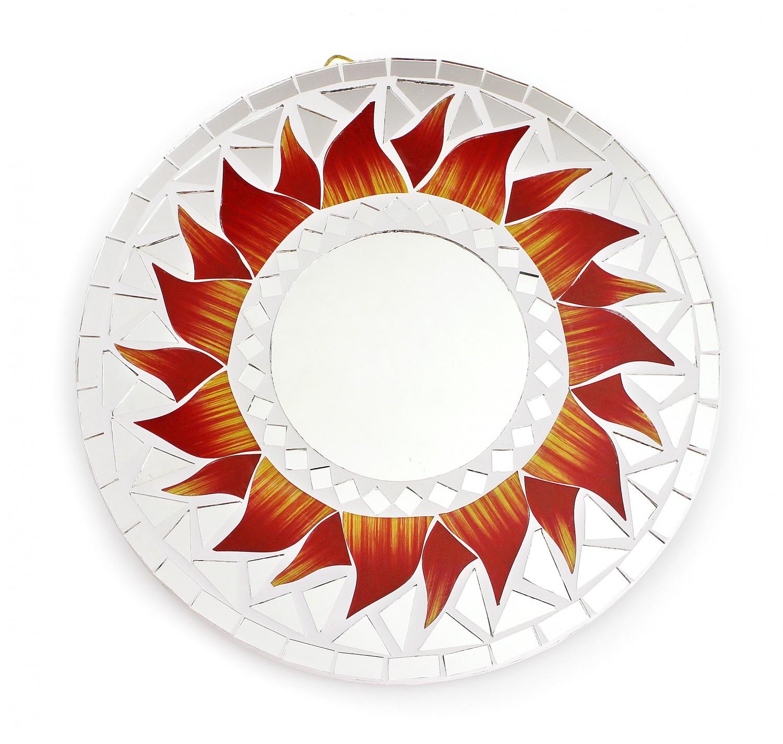 feng shui spiegel dekospiegel matahari sonne 20cm aus holz wei mosaik rot gelb wanddeko. Black Bedroom Furniture Sets. Home Design Ideas