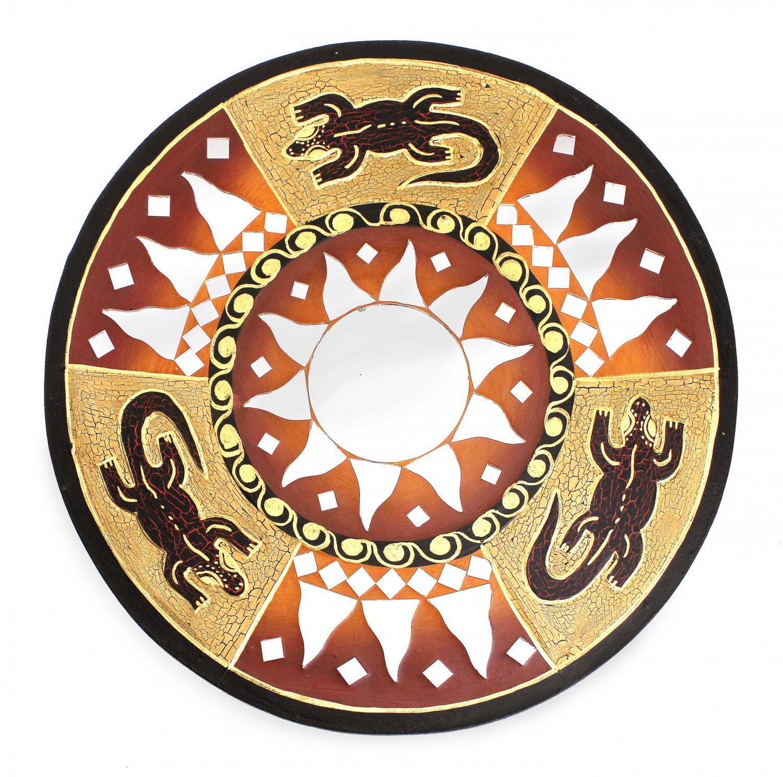 feng shui spiegel dekospiegel gecko eideckse 30 cm handgefertigt aus holz braun rot wanddeko. Black Bedroom Furniture Sets. Home Design Ideas