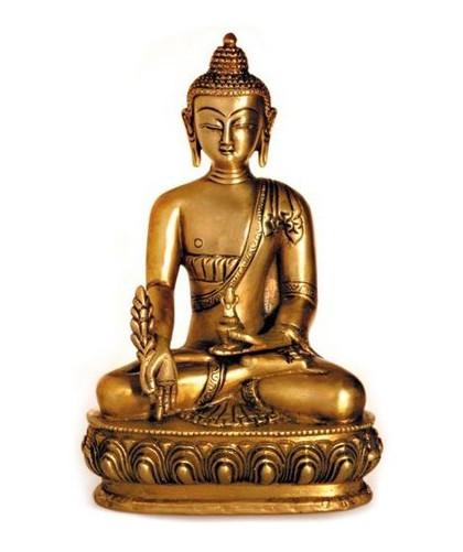 Deko Figur Buddha Figur Medizinbuddha sitzend, Statue aus Messing massiv, Höhe 20 cm groß, asiatische Gottheit, Buddha auf Lotus Thron