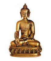 Deko Figur Buddha Figur Medizinbuddha sitzend, Statue aus Messing massiv, Höhe 20 cm groß, asiatische Gottheit, Buddha auf Lotus Thron 001