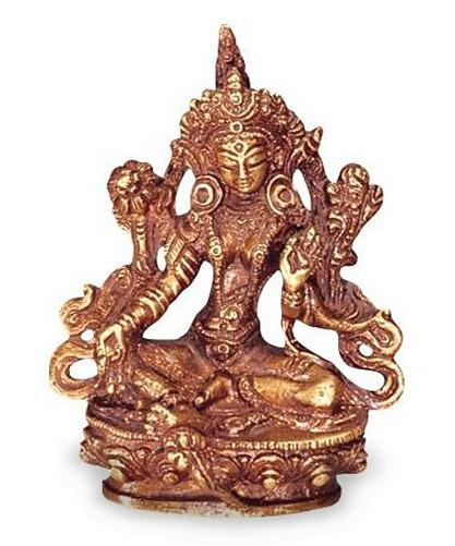 Deko Figur Grüne Tara Buddha Figur, Figur aus Messing massiv, Höhe 11 cm groß, Dölma Statue Shyama-Tara weiblicher Buddha auf Lotusthron