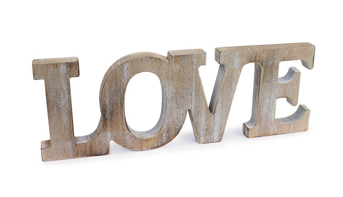 Deko Holzaufsteller Schriftzug Love Englisch Liebe 24x8 5