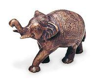Deko Figur indischer Elefant Figur aus Messing mit Gravur, Länge 12 cm groß, Statue reich verziert Krafttier orientalisch Indien Afrika 001