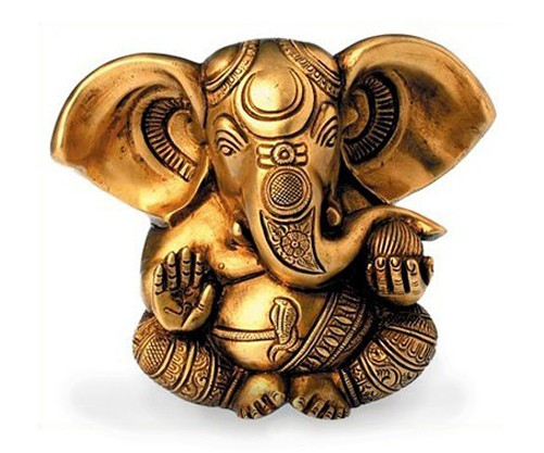 Deko Figur Ganesha Figur zweiarmig sitzend, Statue aus Messing Höhe 13 cm groß, Hindu Gott Buddha Indien Asien Elefantengott Baby Ganesha Elefant