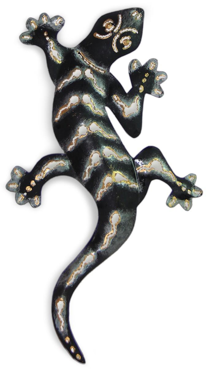 Deko figur wanddekoration gecko aus metall handbemalt for Wanddekoration metall