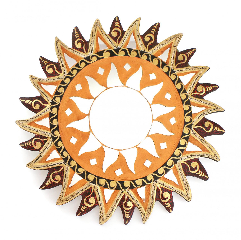 Feng Shui Spiegel feng shui spiegel dekospiegel sonne ø 40cm aus holz braun rot gold