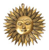 Wanddeko Sonne aus Messing Durchmesser 19 cm, Wandsymbol Feng Shui detailreich verziert, Symbol Solarplexus für Licht Tag Lebensfreude 001
