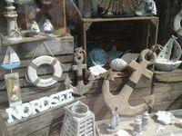 Deko Figur Anhänger Fisch 60 cm, Metall weiß braun, Fensterdeko Dekoanhänger Dekokette Maritim Fischanhänger Zum Hängen An Seil Wanddeko