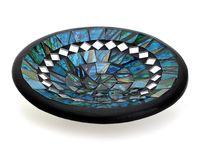 Mosaikschale Tonschale rund Ø 15 cm aus Ton mit Glasmosaik blau grün türkis, Dekoschale Mosaikstein belegt, Mosaik Stein Schale Dekoteller Teller 001