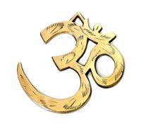 Wandsymbol OM Symbol aus Messing ca 8 cm hoch, Wanddekoration Ursilbe der Schöpfung, Kraftsymbol zum anhängen für Schutz und Frieden 001