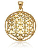 Schmuck Anhänger Blume des Lebens Ø 25 mm, 925 Sterling Silber vergoldet Lebensblume Schutz Amulett Reiki Damen Herren  001