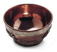 Räucherschale Räuchergefäß mit Om Symbol Ø 8 cm aus Kupfer, Kupferschale Schale tibetisch zum Räuchern mit Räucherkohle und Kräuter Dhoopgefäß 001