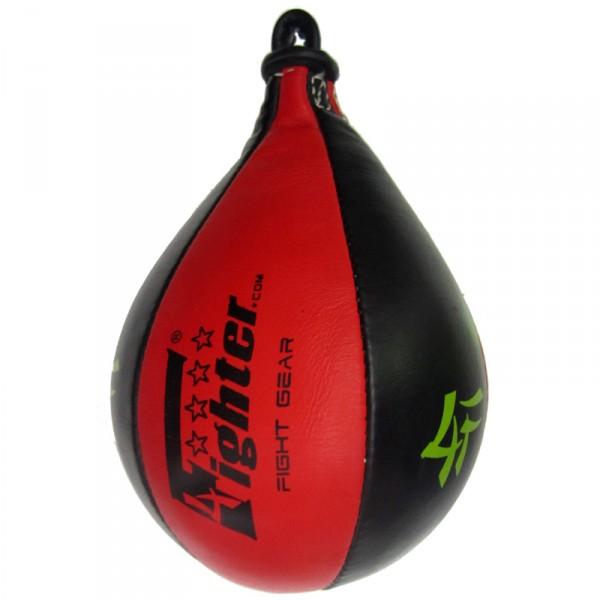4Fighter PRO Leder Speedball / Trainings Boxbirne / Punchingball schwarz-rot – Bild 3