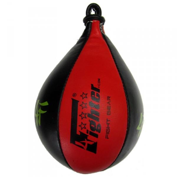 4Fighter PRO Leder Speedball / Trainings Boxbirne / Punchingball schwarz-rot – Bild 2