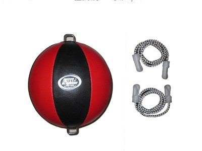 4Fighter Leder Punchingball Doppelendball Double-End-Ball schwarz-rot mit Gummiseilen – Bild 2