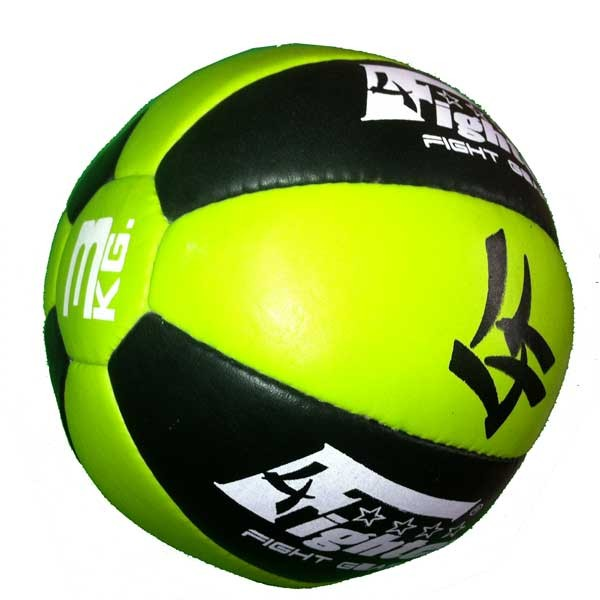 4Fighter Leather Medicin Ball neon green black 3 Kg – image 1