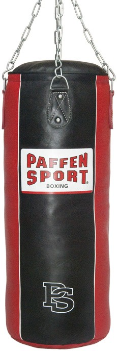 "Paffen-Sport ""Star""leather punching bag, black/red, filled, 90 x 35 cm"