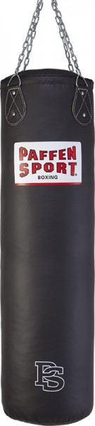 "Paffen-Sport ""Allround"" Leatherette boxing and kick-boxing bag, black, filled, 120 x 35 cm"