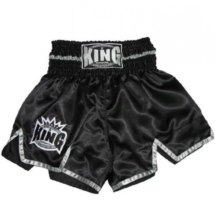 King Muay Thai Shorts, black with silver KTBS-25