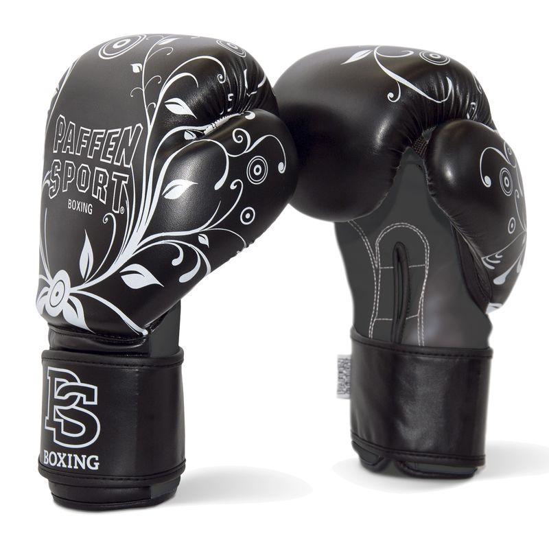 Paffen-Sport Lady mujeres guantes de boxeo negro/blanco 10 Oz y 12 Oz