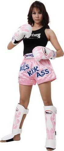 TWINS Thaiboxing Hose muay thai Shorts rosa mit Girls Kick Ass XS - L