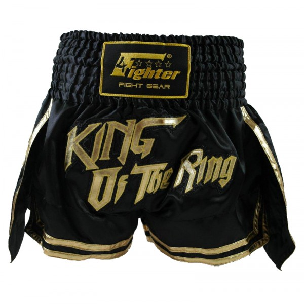 "4Fighter Muay Thai Shorts Kickbox Shorts ""King of the Ring"" black / gold XS-XXL – image 1"