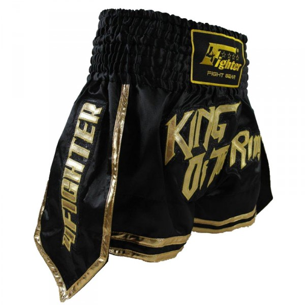 "4Fighter Muay Thai Shorts Kickbox Shorts ""King of the Ring"" black / gold XS-XXL – image 2"