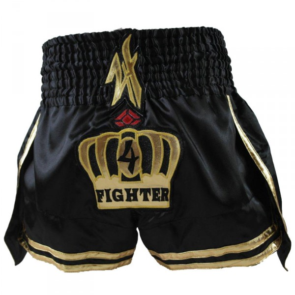 4Fighter Muay Thai Shorts Thaibox Hose King of the Ring schwarz-gold – Bild 3