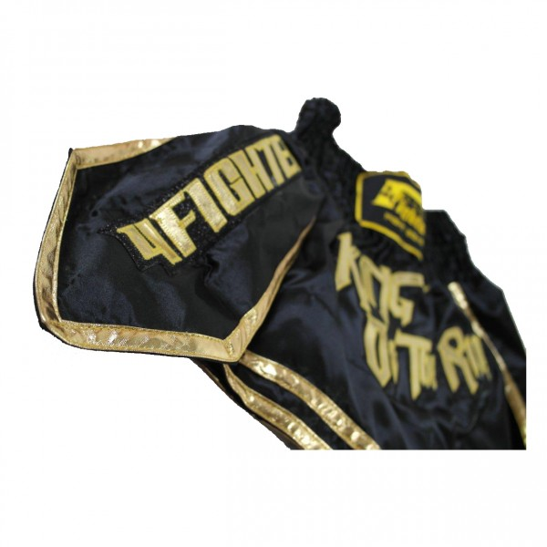 4Fighter Muay Thai Shorts Thaibox Hose King of the Ring schwarz-gold – Bild 5