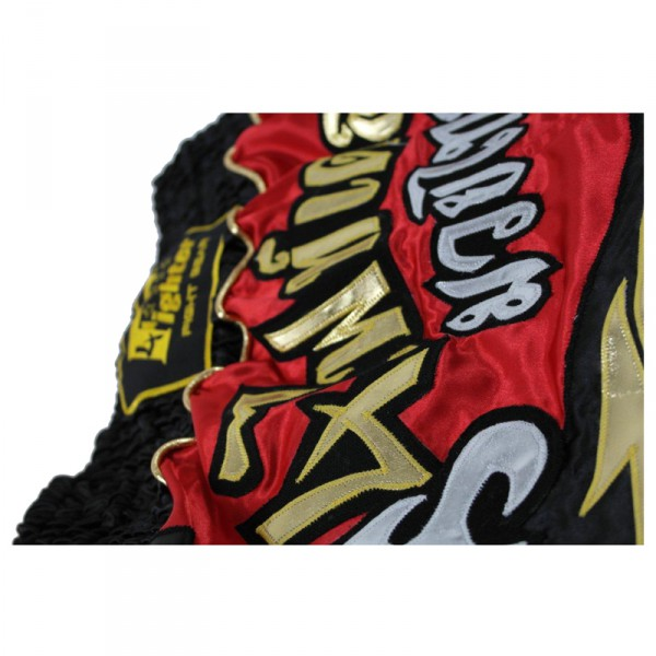 4Fighter Brave Muay Thai Shorts / Kick Thaiboxing red black with 4Fighter in Thai Letters – image 4